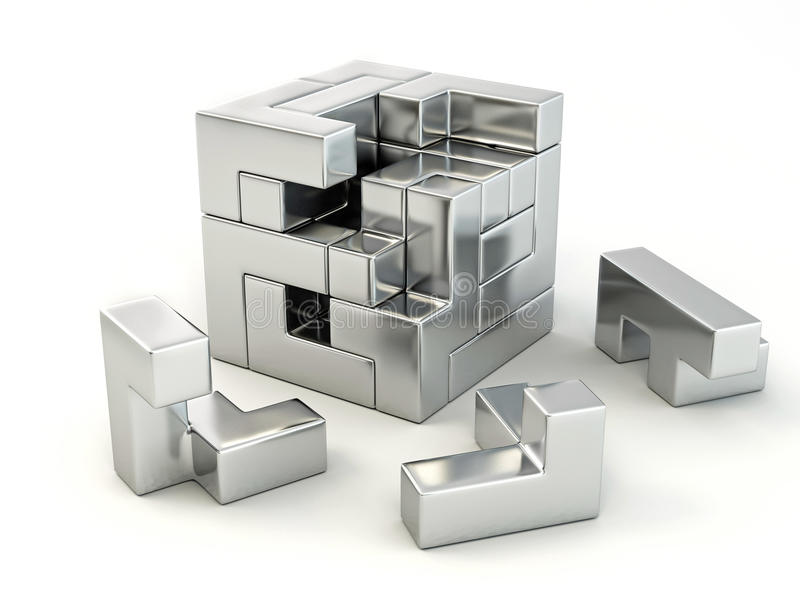 Download A Cube Built From Blocks. Puzzle Stock Illustration - Image: 14803078
