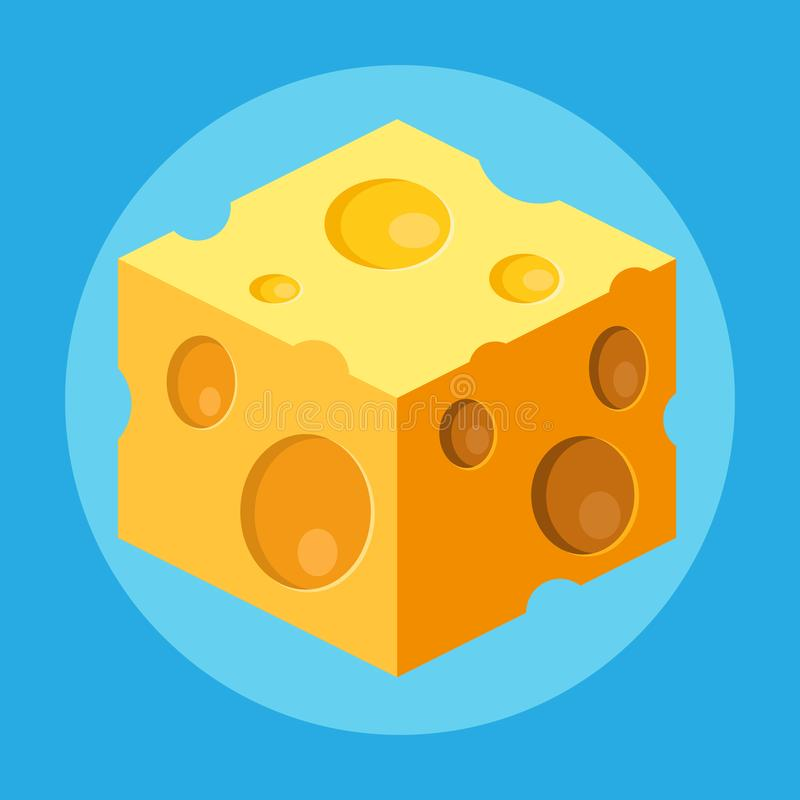 Cube of cheese isolated on a blue background. Flat yellow milk food symbol for web site design. royalty free stock photos