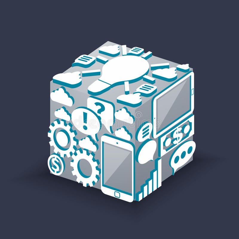 Cube of cloud computing schema concept royalty free illustration