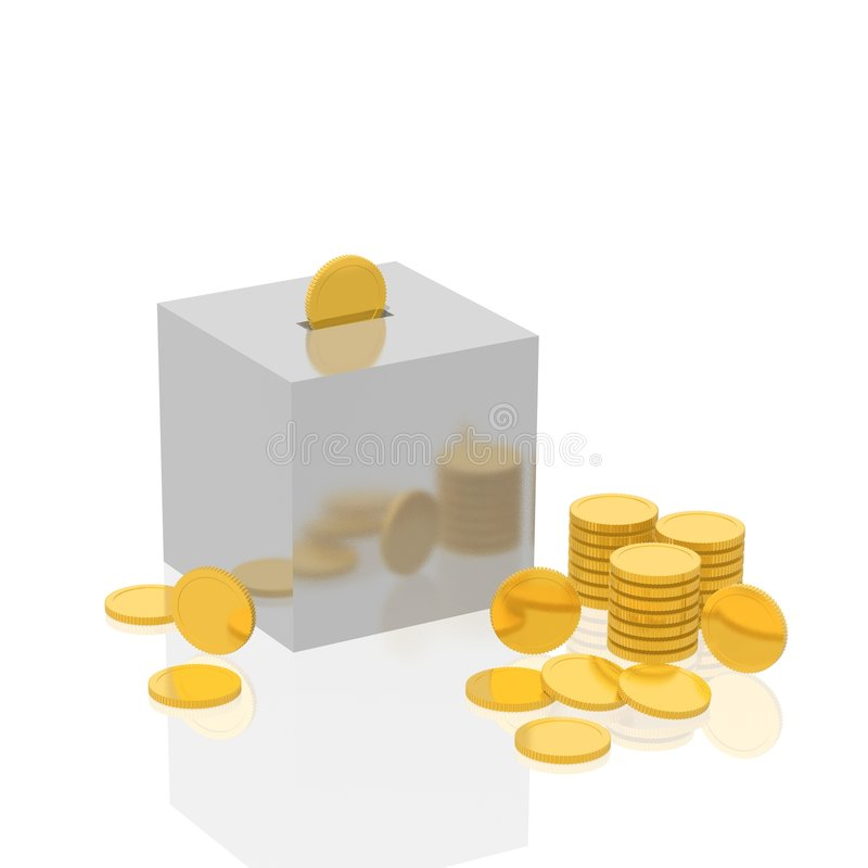 Cube a coin box stock image