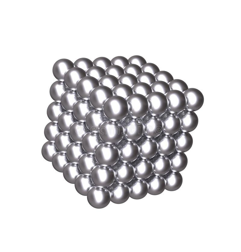 cube 3D avec les boules argentées illustration stock