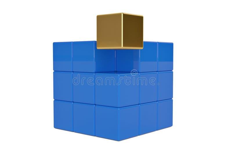 Cube d'or et cubes bleus sur le fond blanc illustration 3D illustration de vecteur