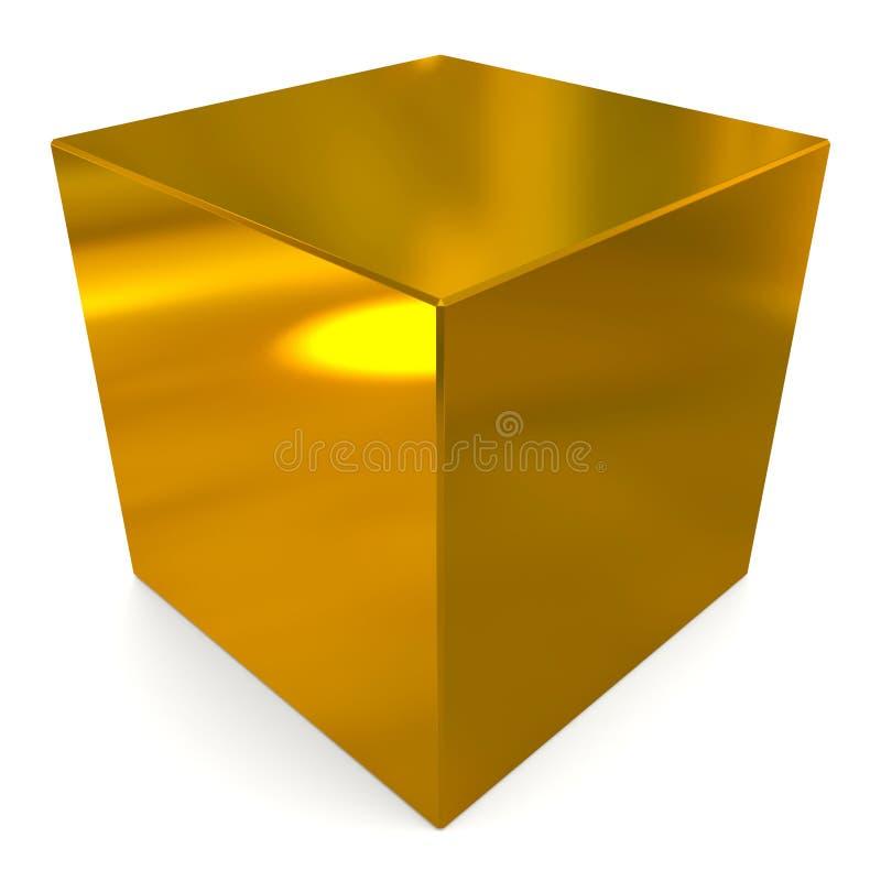 Cube 3d golden stock illustration