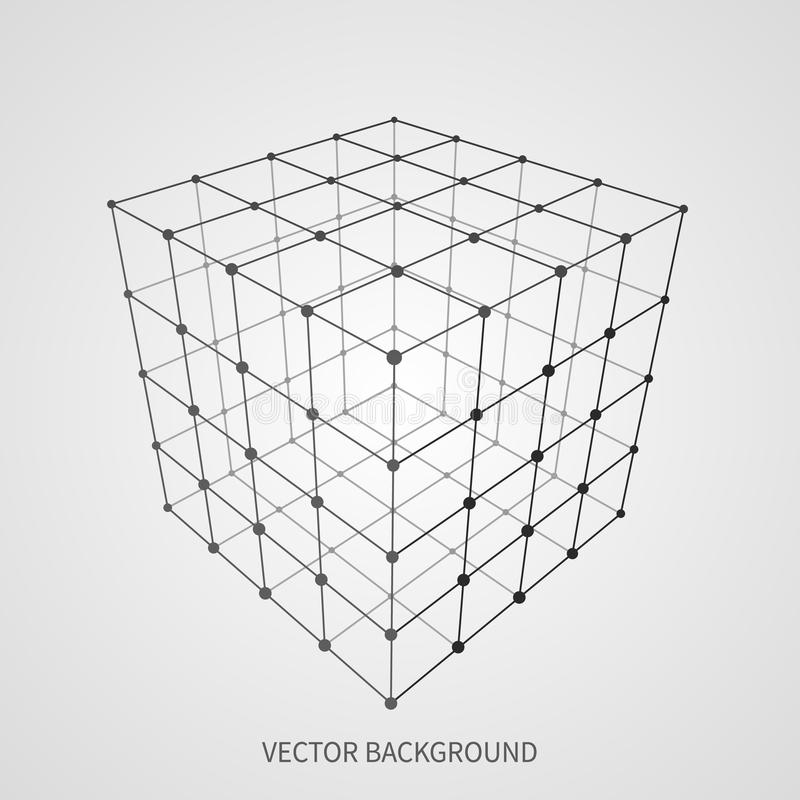 Cube 3d mesh wireframe. Web and data connection vector concept. Model complex object 3d square, geometric box structure wireframe illustration royalty free illustration