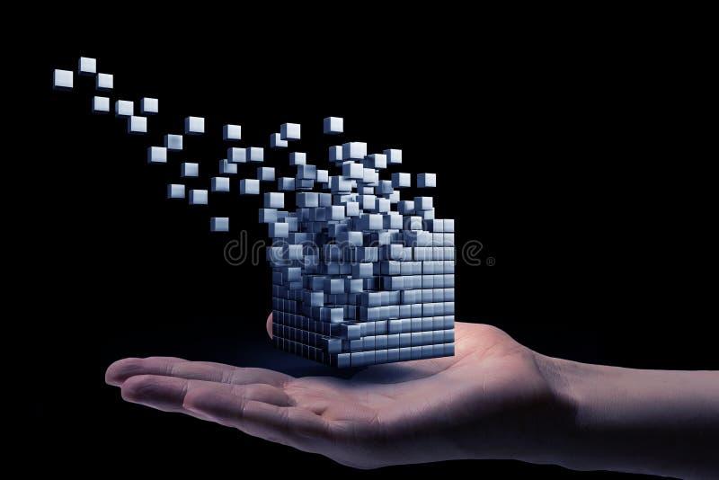 Cube dans la main masculine Media mélangé photo libre de droits