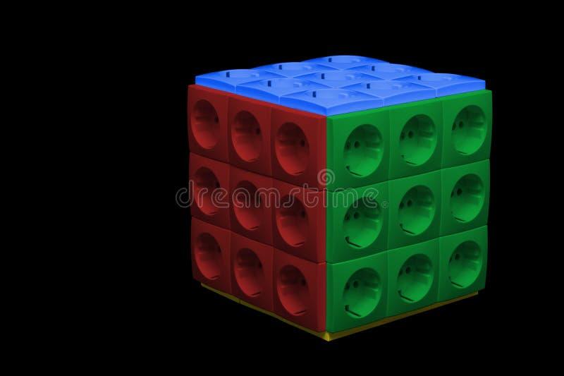 Cube de débouchés électriques illustration libre de droits
