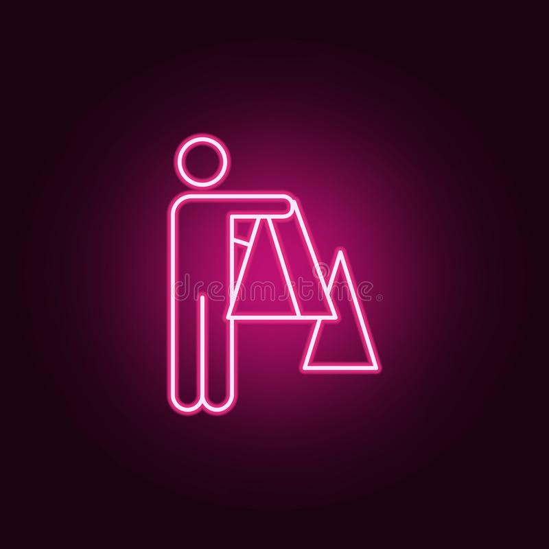 Cube decision logic neon icon. Elements of conceptual figures set. Simple icon for websites, web design, mobile app, info graphics. On dark gradient background vector illustration