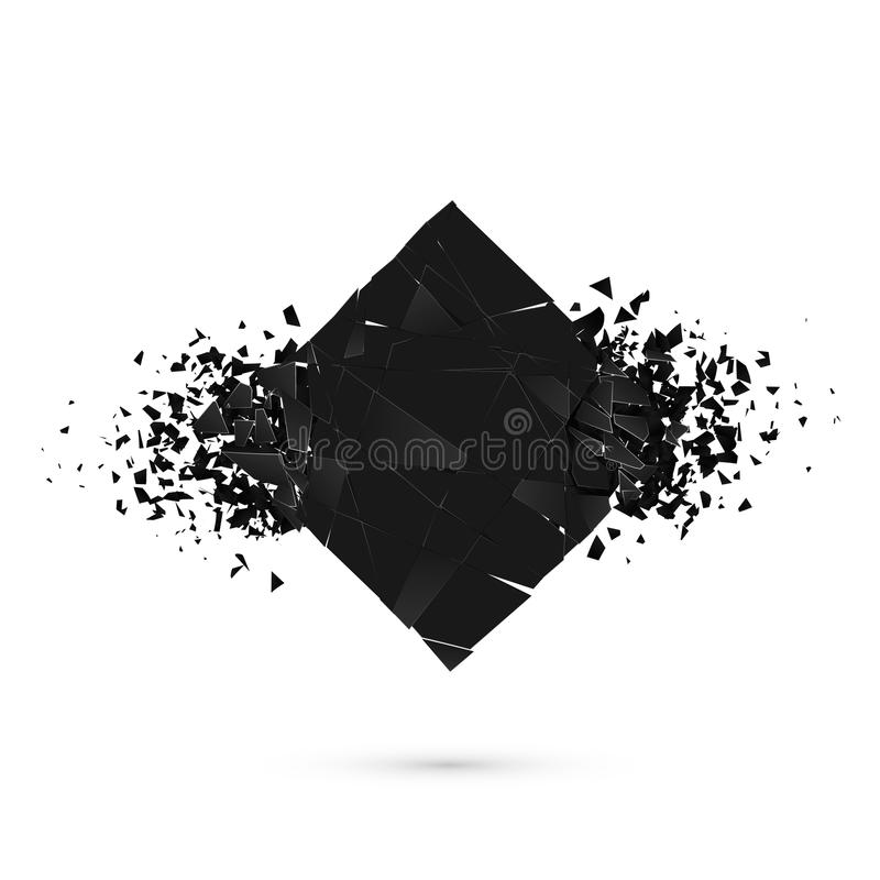 Cube destruction. Squared black banner with space for text. Abstract shape explosion. Vector royalty free illustration