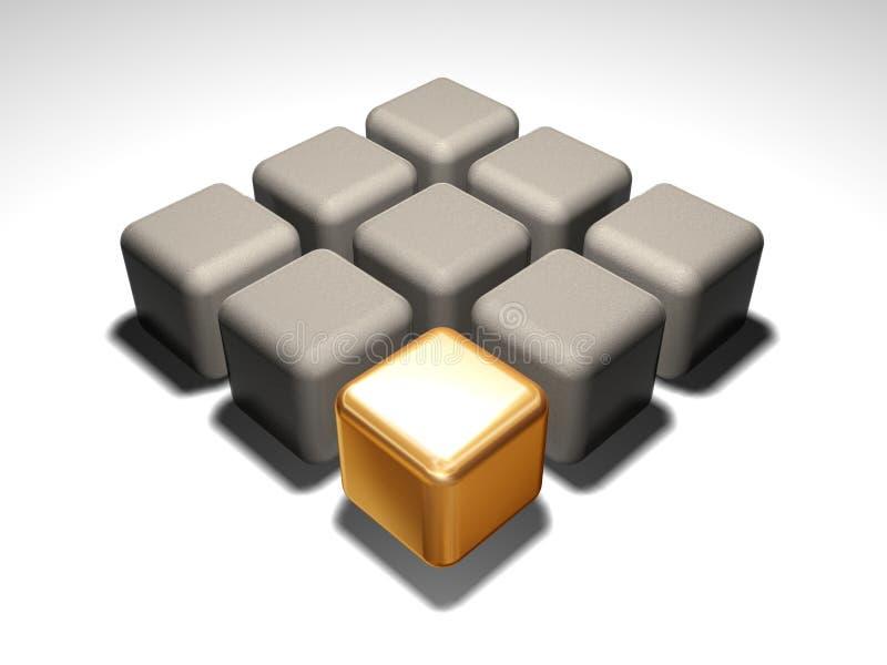 Cube en or illustration de vecteur