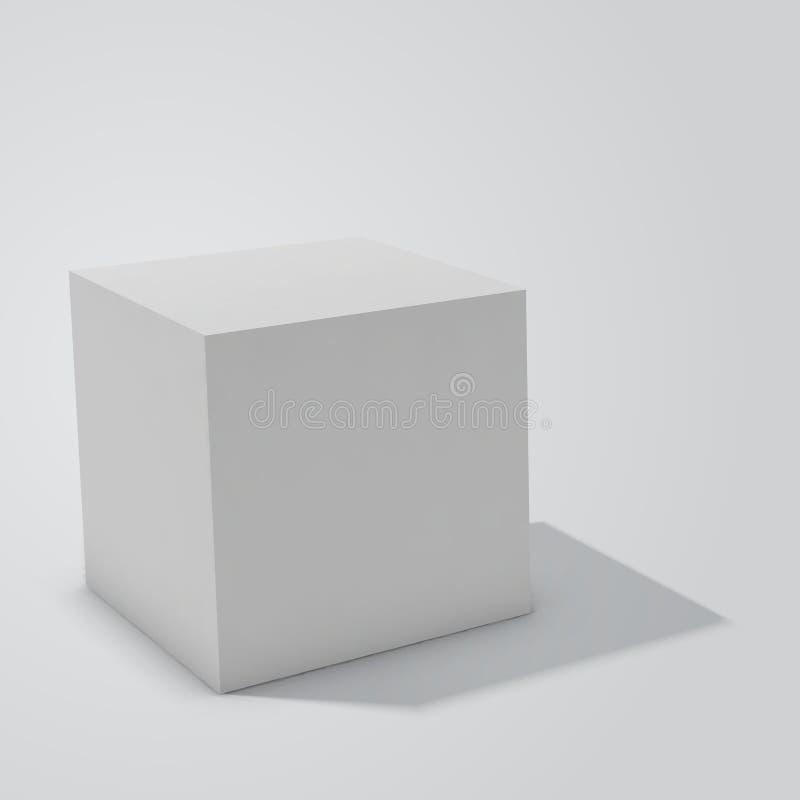 Cube en boîtier blanc d'isolement sur le fond blanc illustration de vecteur