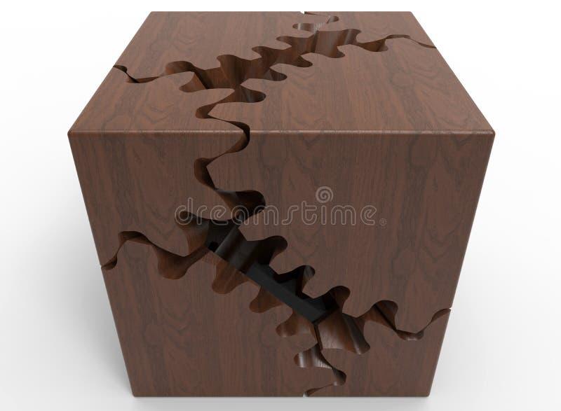 Cube en bois denteux illustration libre de droits