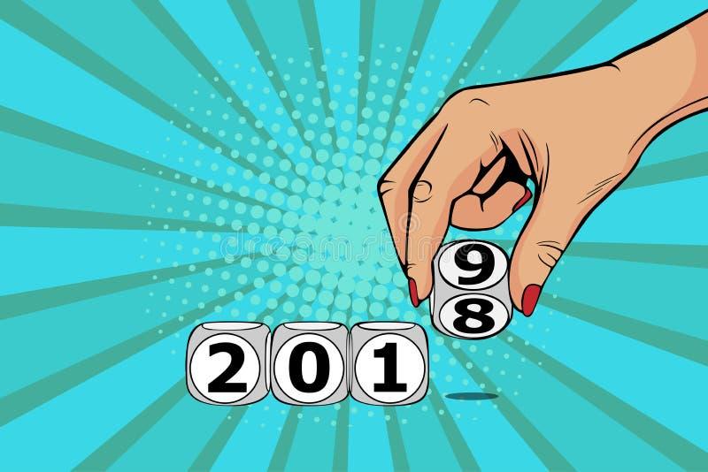 Cube en commutateur de main de femme à partir de 2018 à 2019 Dirigez l'illustration dans style comique d'art de bruit le rétro illustration de vecteur
