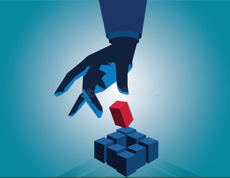 Cube en contact de main d'homme d'affaires comme symbole de la résolution des problèmes contact photographie stock