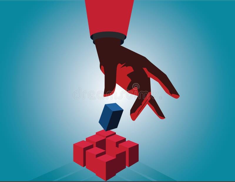 Cube en contact de main d'homme d'affaires comme symbole de la résolution des problèmes contact images stock