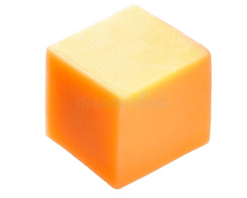Cube en fromage de cheddar, chemins photo libre de droits