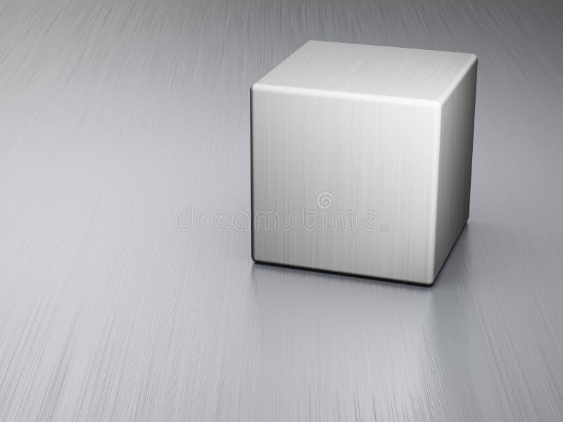 Cube en métal de la plaque en acier illustration stock