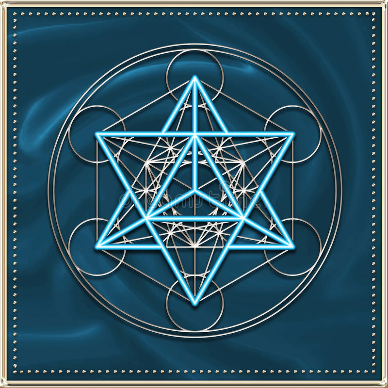 Cube en Merkaba - en Metatrons illustration stock