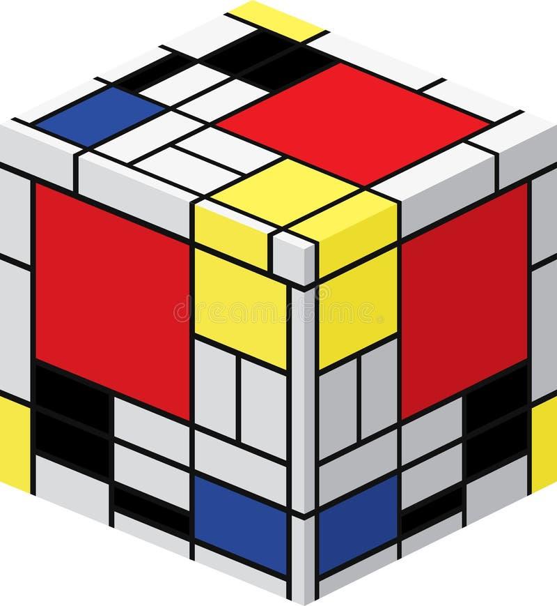Cube en Mondrian illustration stock