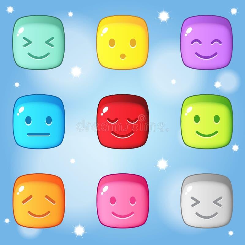 Cube en puzzle de bloc toute émotion Sucrerie colorée de style de bouton du match 3 illustration de vecteur