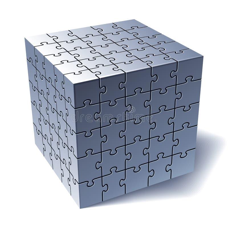 Cube en puzzle denteux. Toutes les pièces ensemble illustration libre de droits