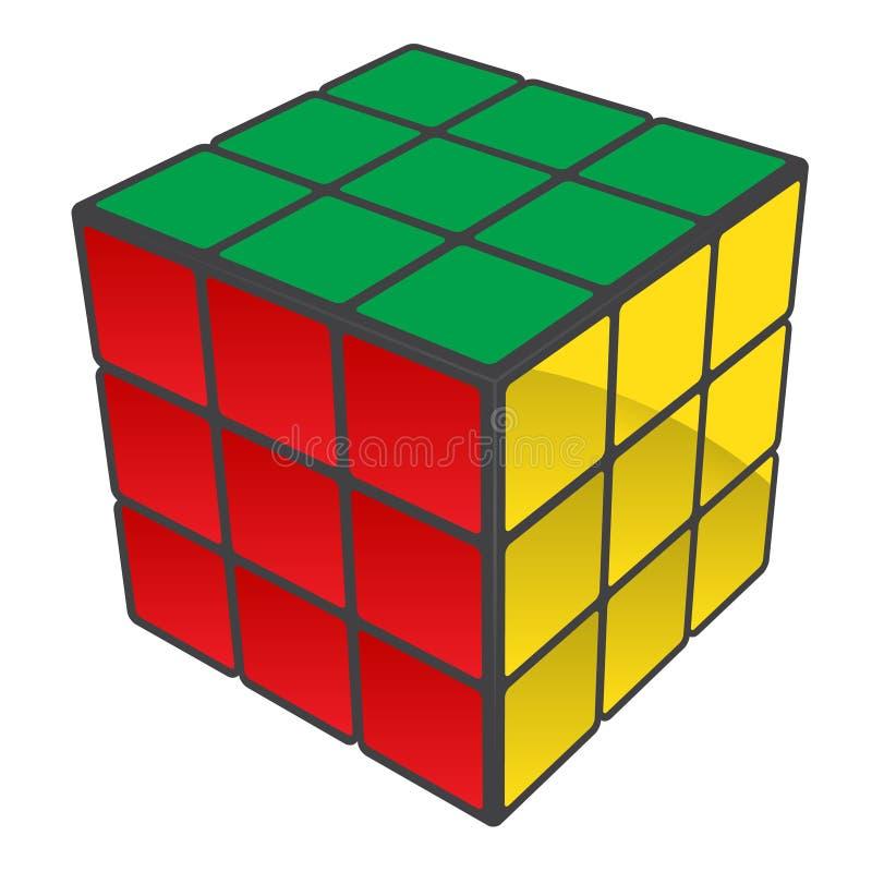 Cube en Rubiks résolu illustration libre de droits