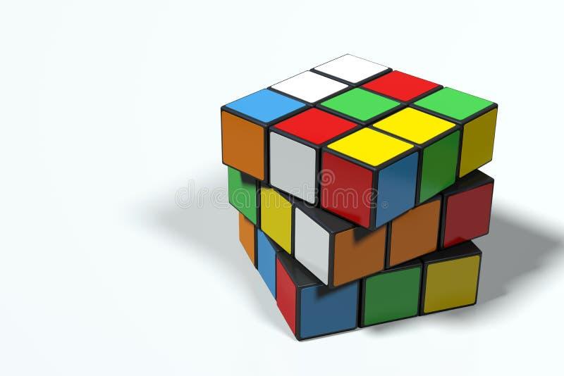 Cube en ` s de Rubik, non résolu et tourné, ultra de haute résolution illustration libre de droits