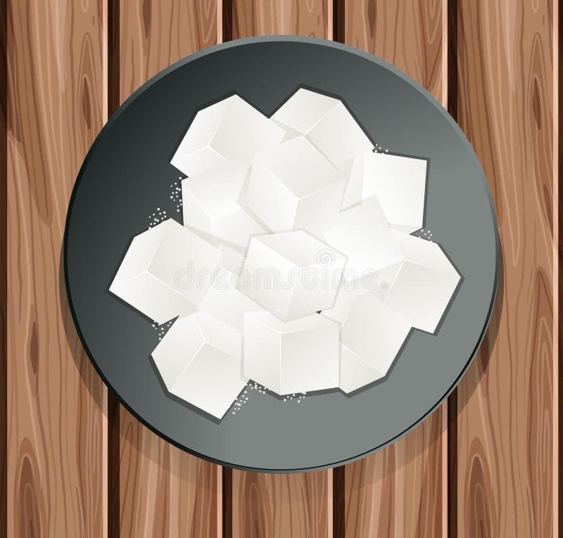 Cube en sucre dans le plat illustration stock