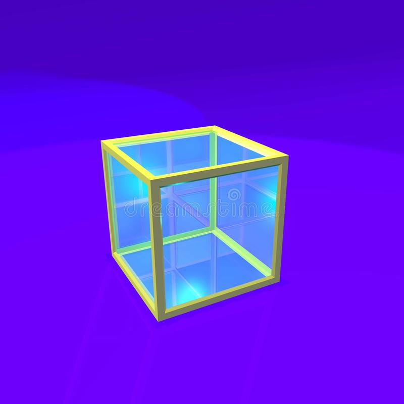 Cube en verre et en métal illustration stock