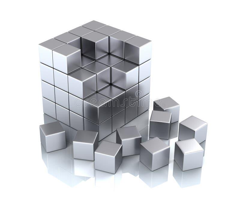 Cube et blocs illustration de vecteur