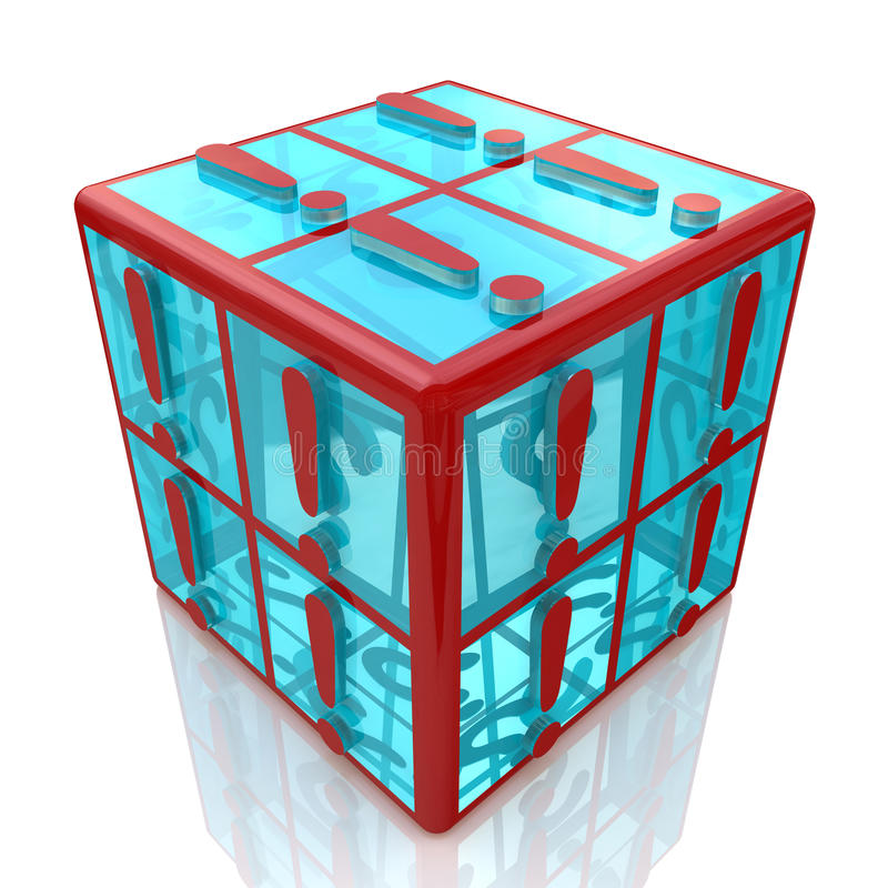 Cube exclamations stock photo