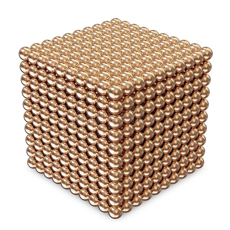 Cube feito das esferas douradas ilustração stock