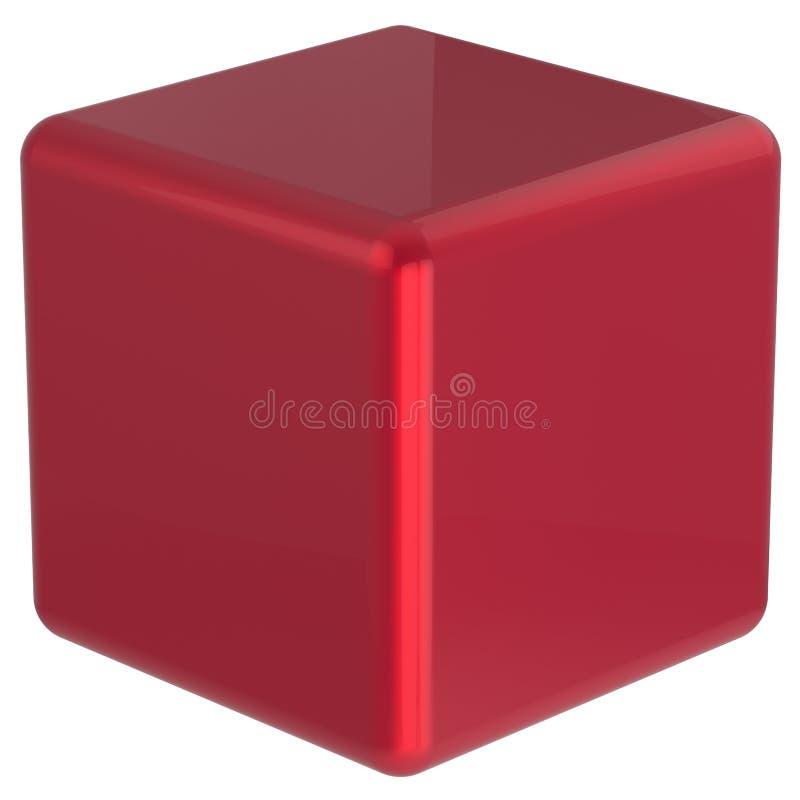 Cube geometric shape dice block basic box square brick red stock illustration