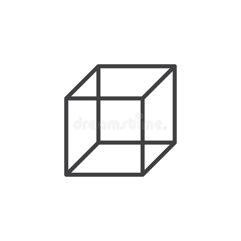 Cube geometrical figure outline icon. Linear style sign for mobile concept and web design. Cube geometric shape simple line vector icon. Symbol, logo stock illustration