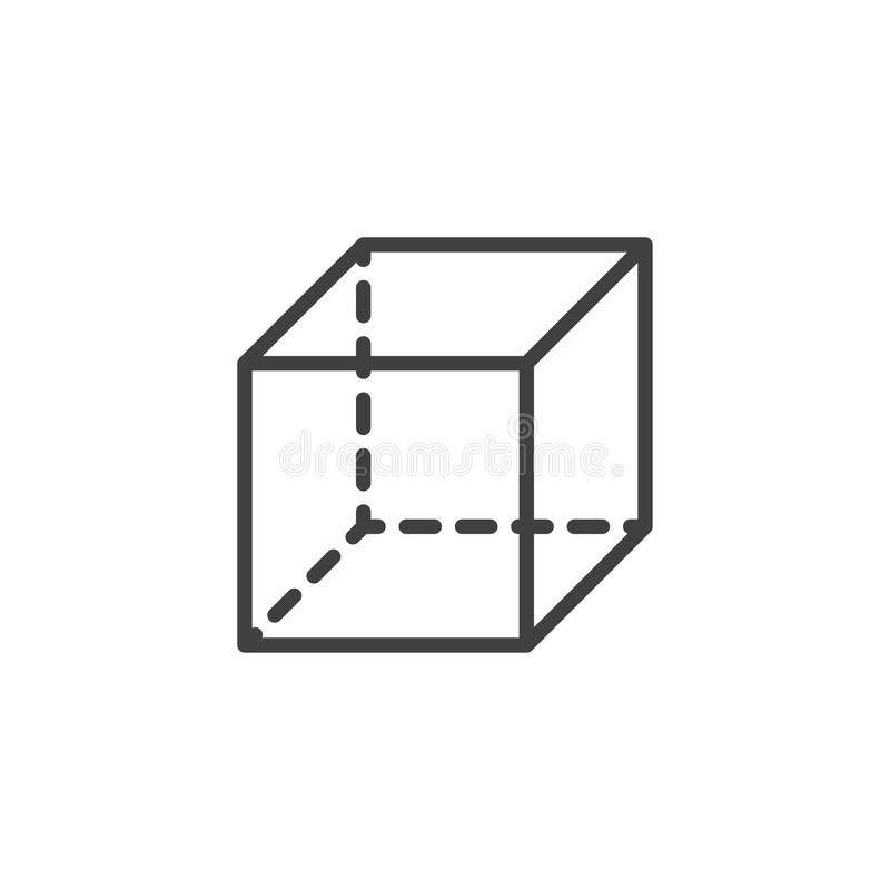 Cube geometrical figure outline icon. Linear style sign for mobile concept and web design. Cube geometric shape simple line vector icon. Symbol, logo royalty free illustration