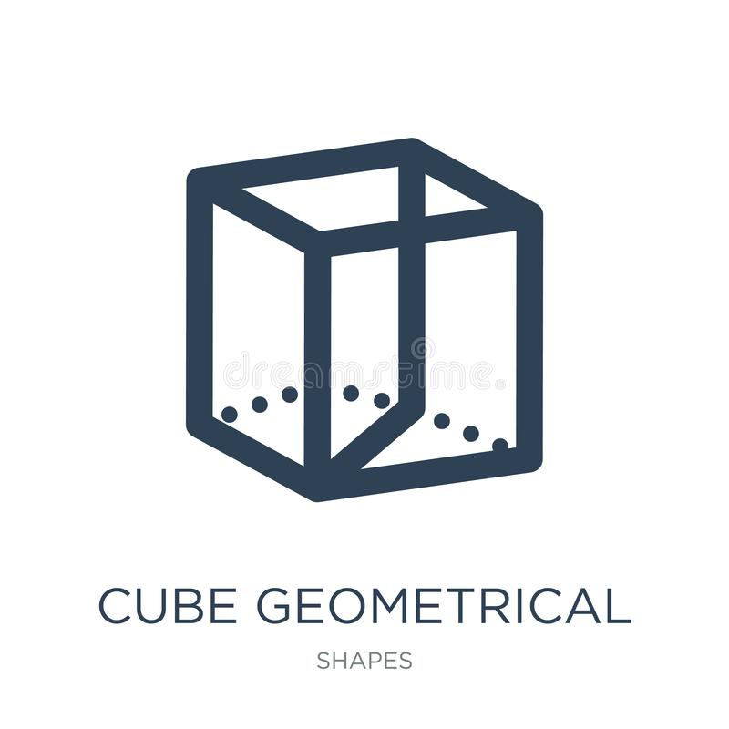 Cube geometrical icon in trendy design style. cube geometrical icon isolated on white background. cube geometrical vector icon. Simple and modern flat symbol royalty free illustration