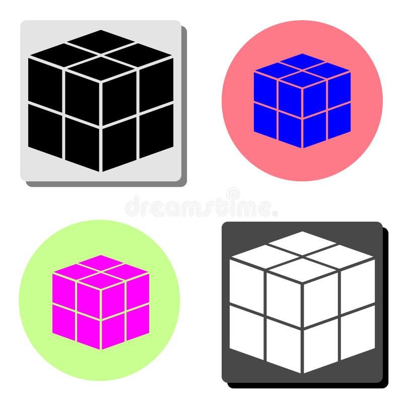 cube Icône plate de vecteur illustration stock