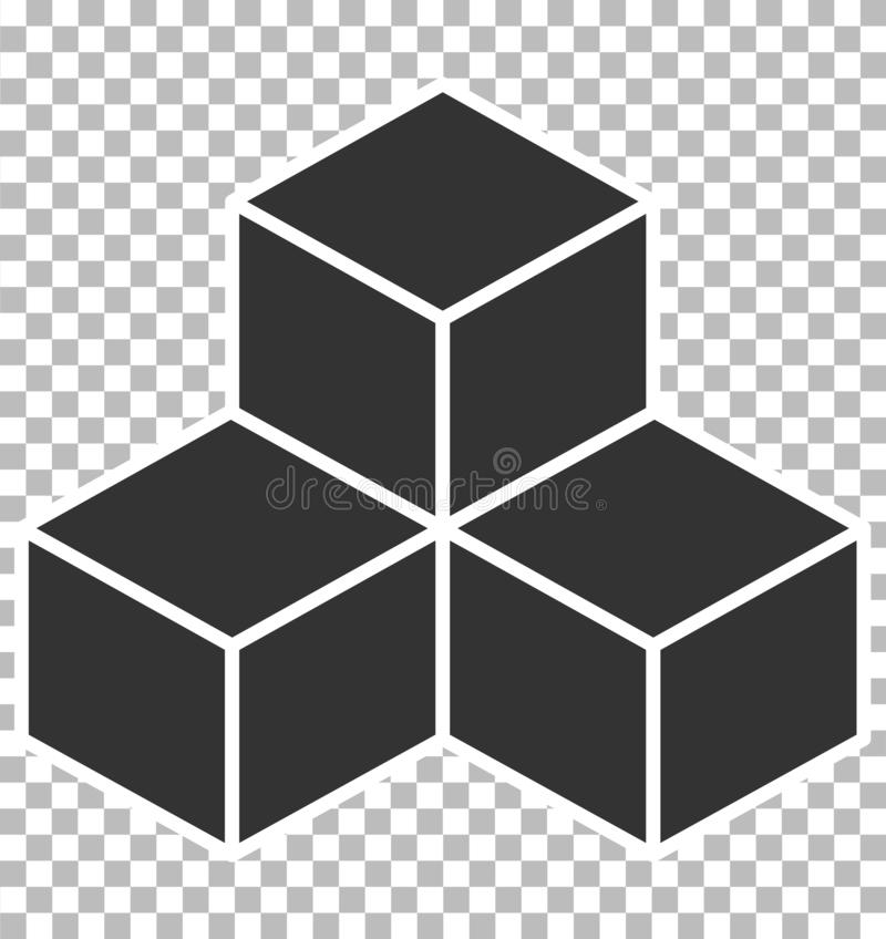 Cube icon on transparent background. flat style. black cube sign. Cube icon for your web site design, logo, app, UI vector illustration