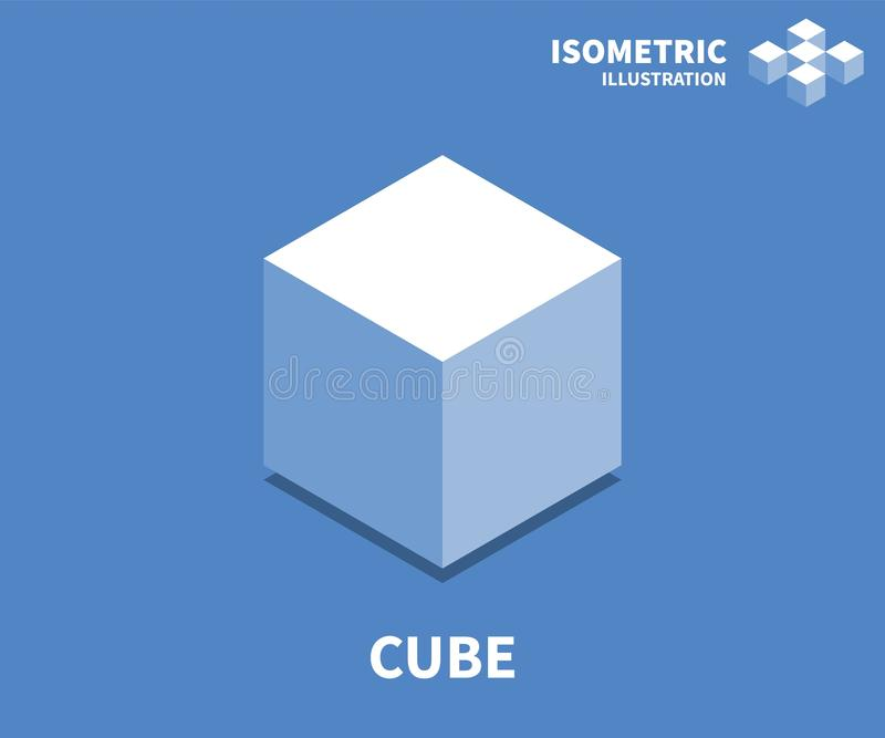 Cube icon, vector illustration in flat isometric 3D style stock illustration