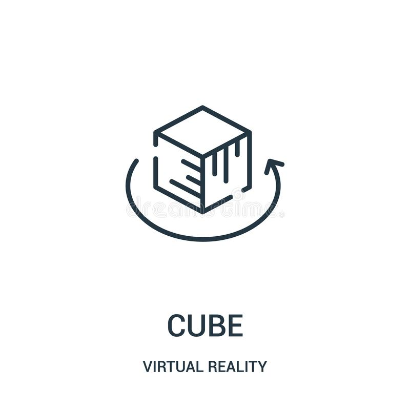 cube icon vector from virtual reality collection. Thin line cube outline icon vector illustration stock illustration