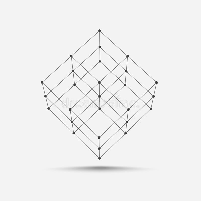 Cube icon vector. Wireframe cube for your design vector illustration