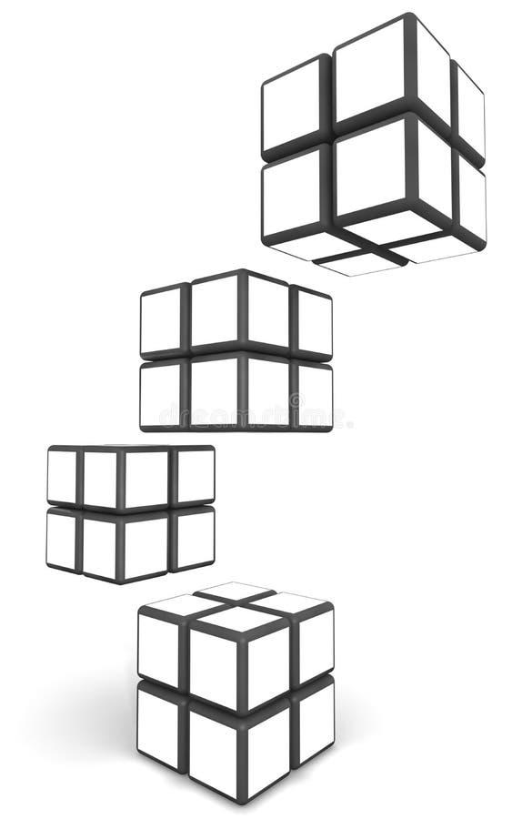 Cube a imagem de indicador do frame da foto no espaço branco ilustração stock