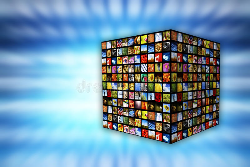 Download Cube of images stock photo. Image of iptv, display, screens - 15456966