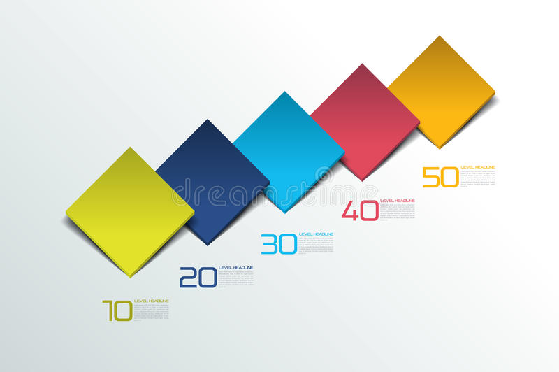 Cube infographics options banner, template, scheme, chart, text layout. Five step design. royalty free illustration