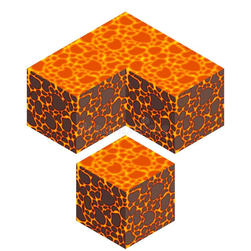 Cube isométrique en lave illustration libre de droits