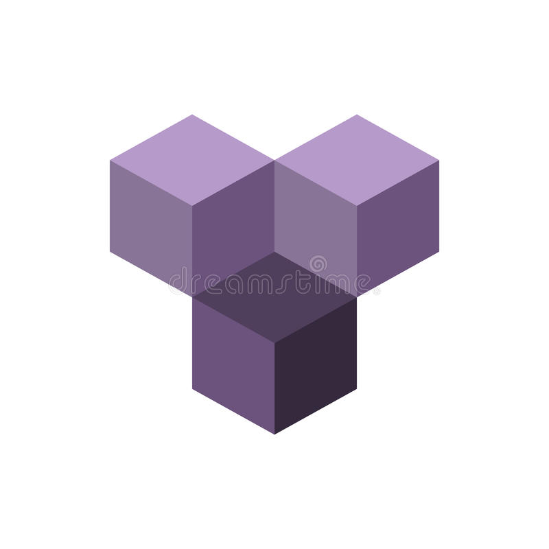 Cube isometric logo concept, 3d vector illustration. Flat design style. stock illustration