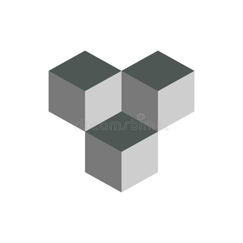 Cube isometric logo concept, 3d vector illustration. Flat design style. Cube construction. Sign pattern. Graphic design. Fashion. Background abstract texture vector illustration