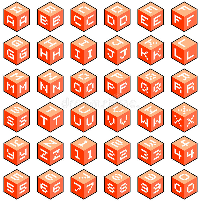 Download Cube Letters and Numbers stock vector. Image of numbers - 32754957