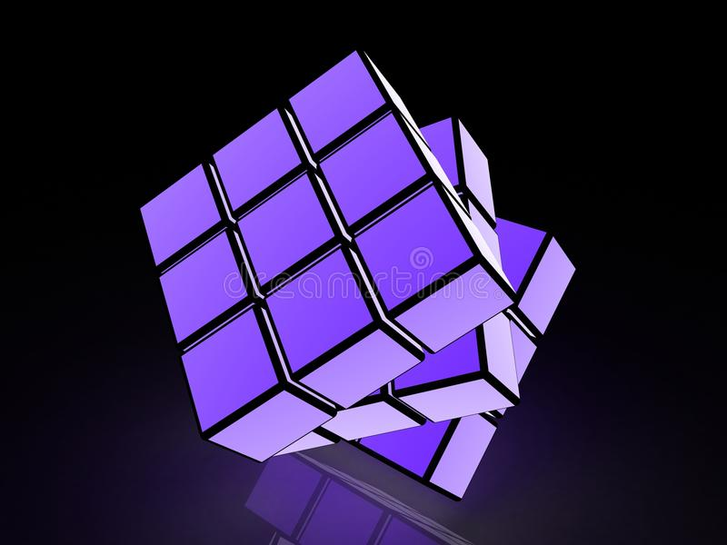 Cube with light images on a black background. 3d images royalty free stock photography
