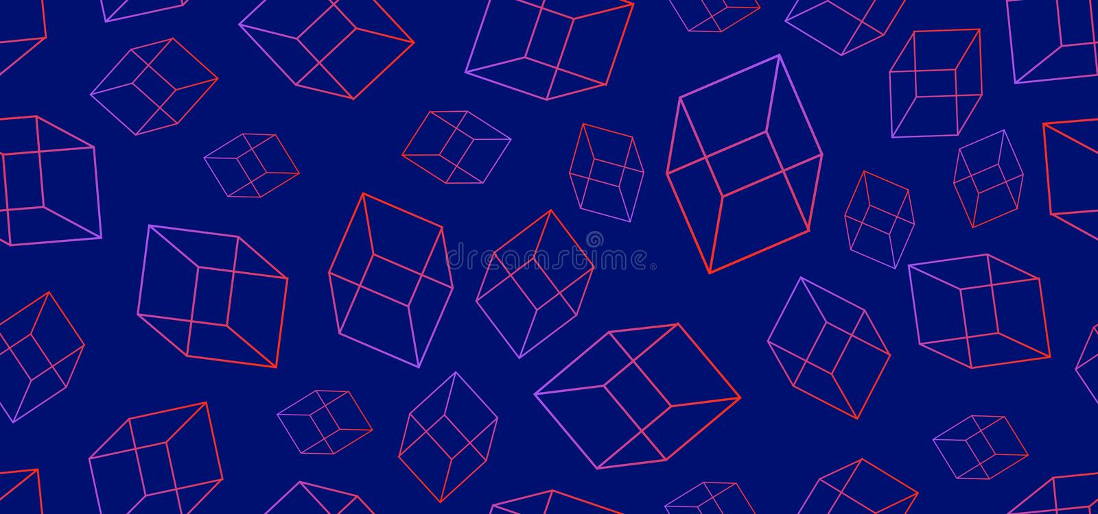 Cube line seamless pattern 3d geometric design abstract style on blue background. Trendy lines for fashion textile vector vector illustration