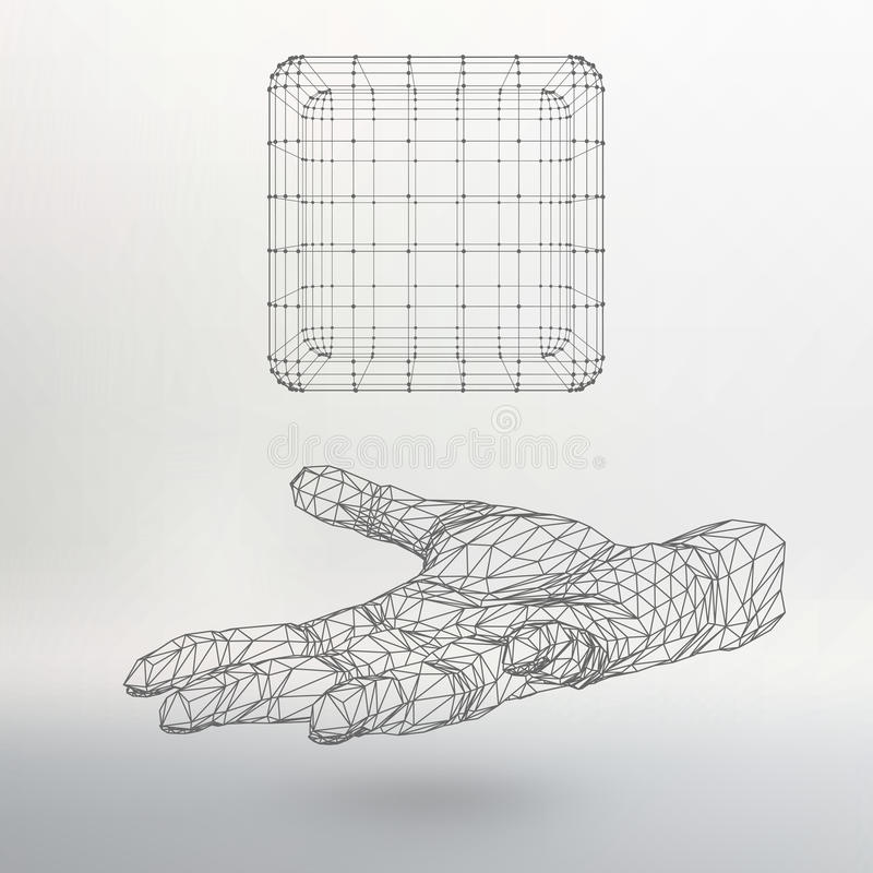 Cube of lines and dots on the arm. The hand stock illustration